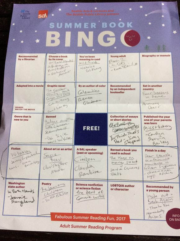 Summer Book Bingo 2017